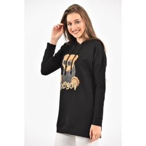 Moda Klon - Siyah Yan Yırtmaçlı Kapüşonlu Sweatshirt